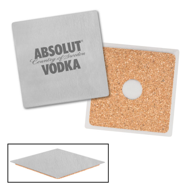Square Stainless Coaster with Cork Backing