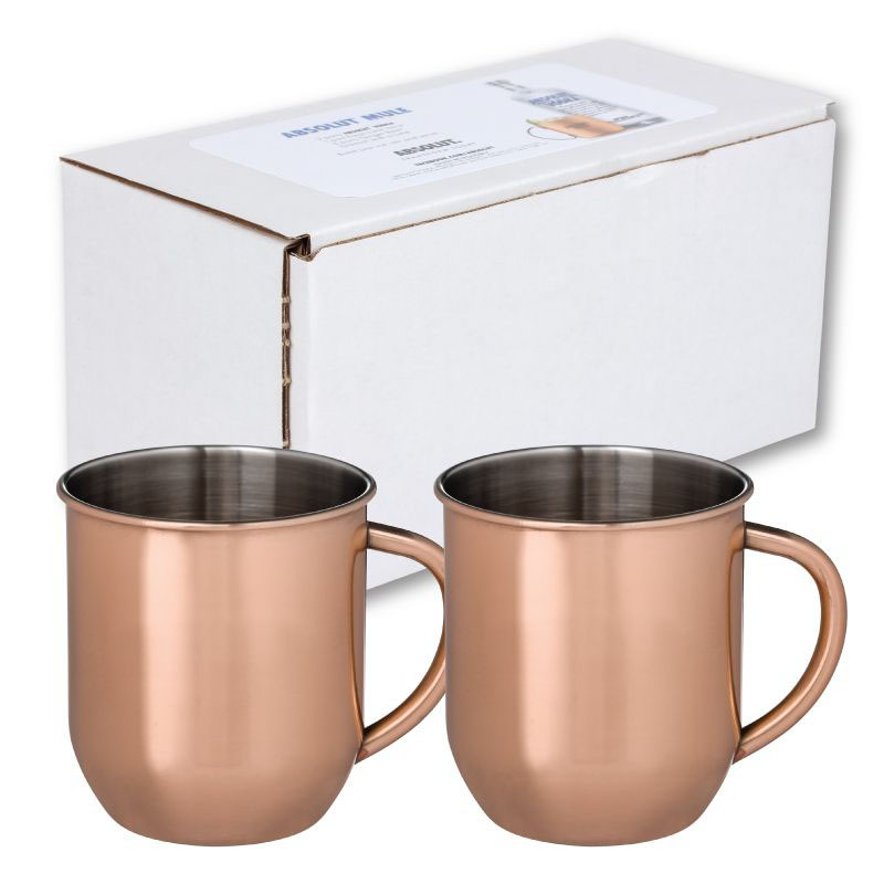 Set of 2 copper plated stainless mug in white box