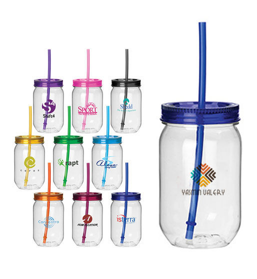 Clear Jar Tumbler with Color Lid