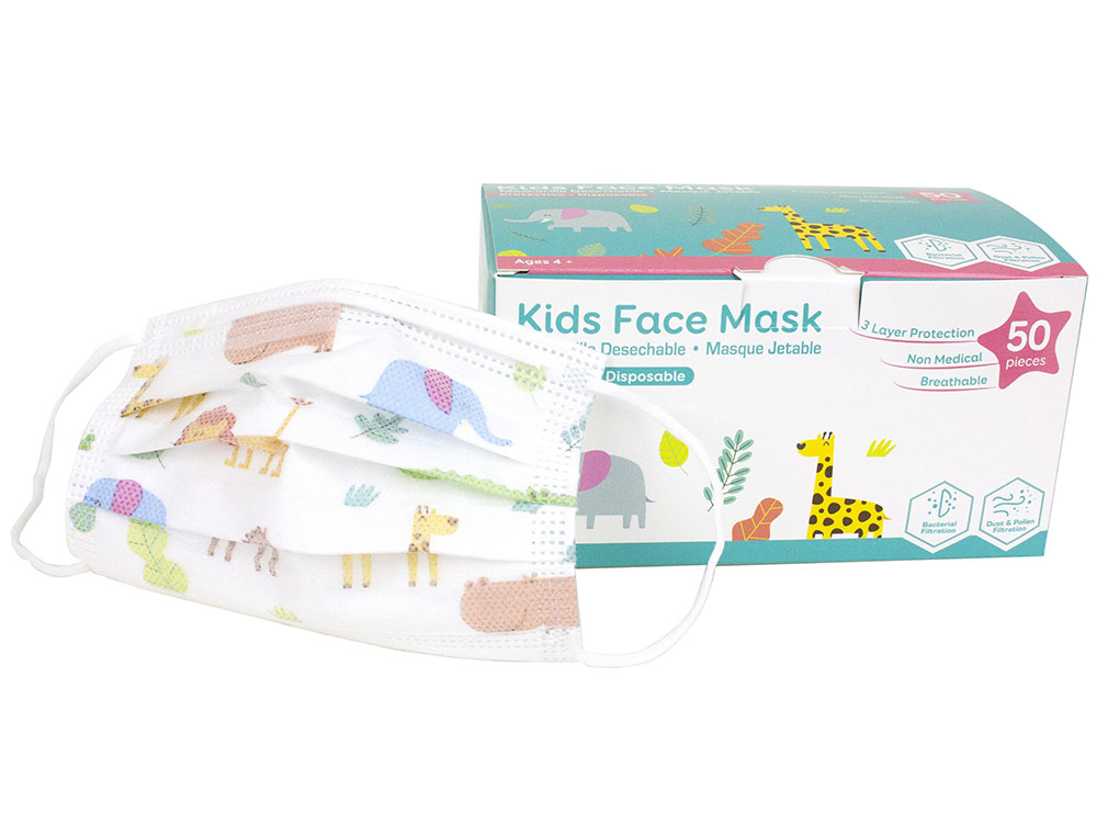 Children Size 3 Ply Disposable Face Mask with Animal Prints