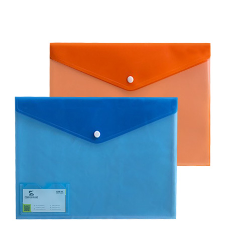 Letter Size Two Tone Poly Envelope w/ Business Card Holder